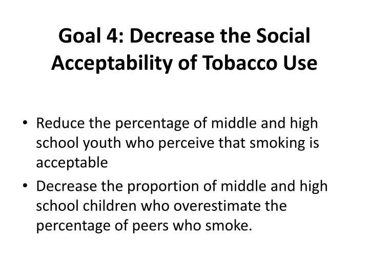 Goal 4: Decrease the Social Acceptability of Tobacco Use