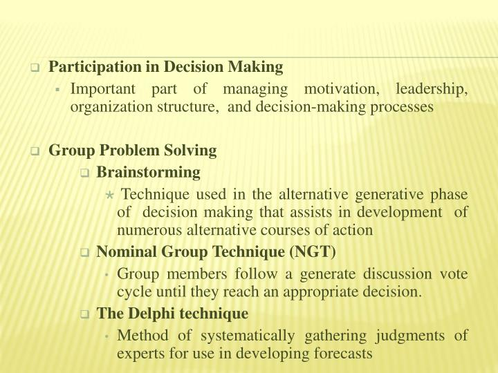 Participation in Decision Making