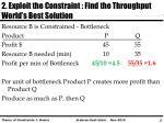 2 exploit the constraint find the throughput world s best solution