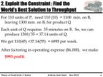 2 exploit the constraint find the world s best solution to throughput