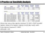 a practice on sensitivity analysis