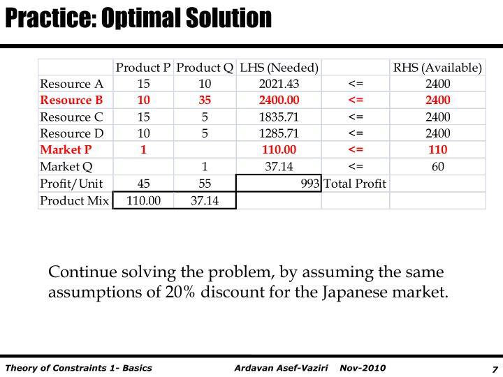 Practice: Optimal Solution