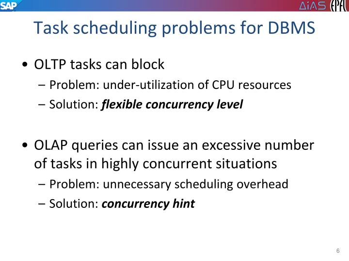 Task scheduling problems for DBMS