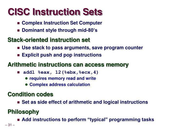CISC Instruction Sets