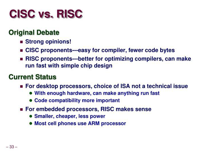CISC vs. RISC