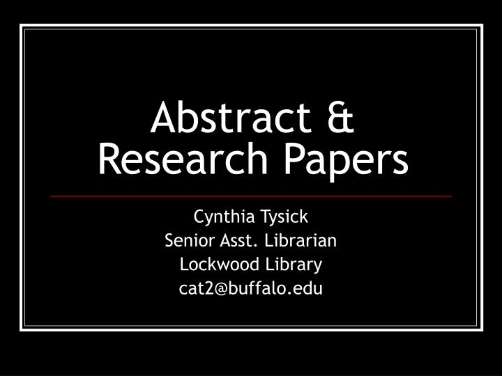 abstracts of research papers
