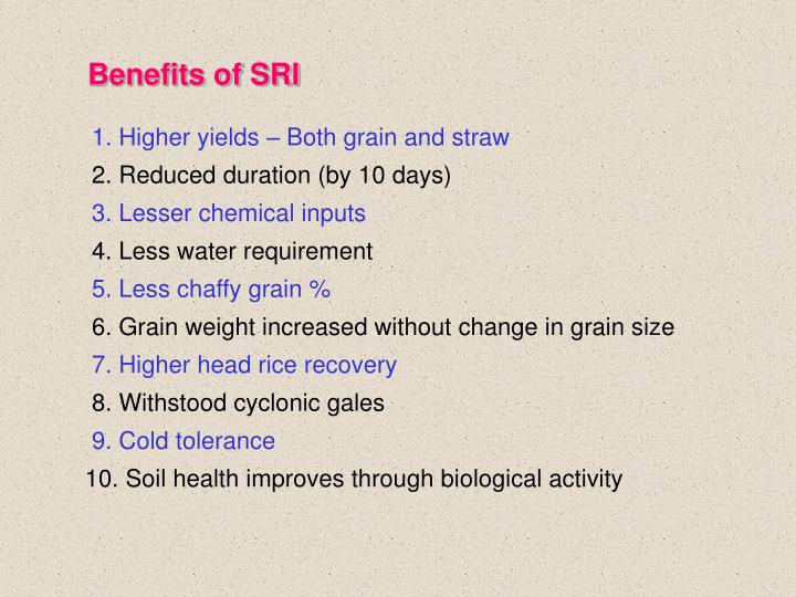 Benefits of SRI
