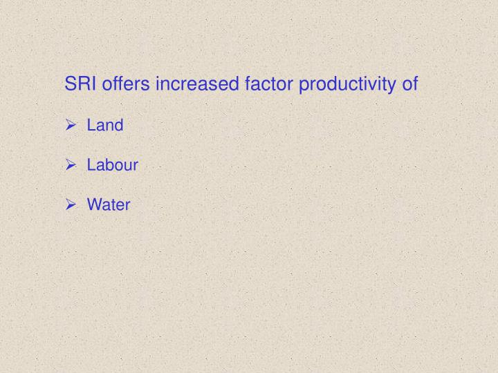 SRI offers increased factor productivity of