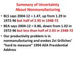 summary of uncertainty about nonmanufacturing