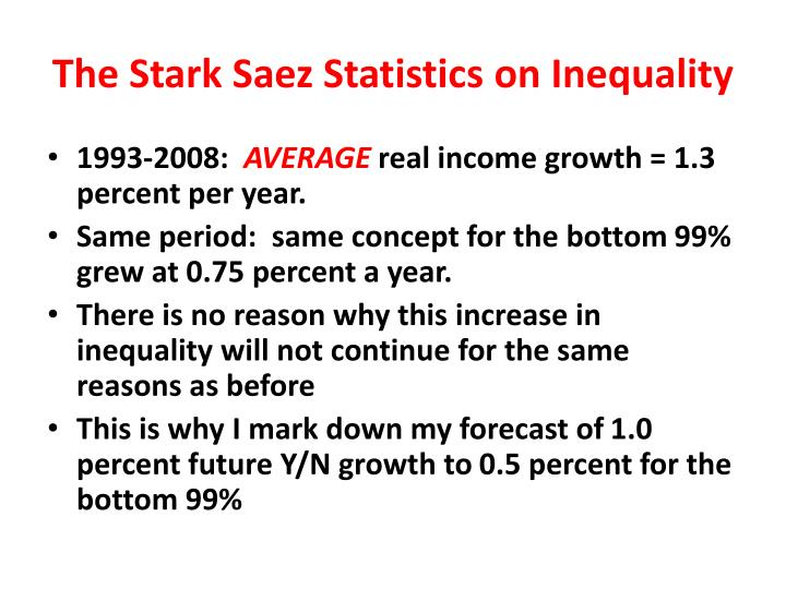 The Stark Saez Statistics on Inequality