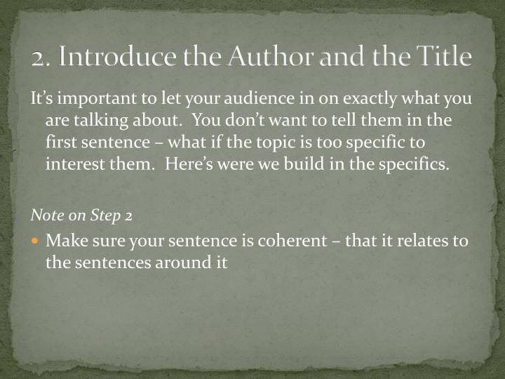 2. Introduce the Author and the Title