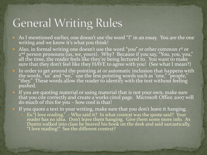 General Writing Rules