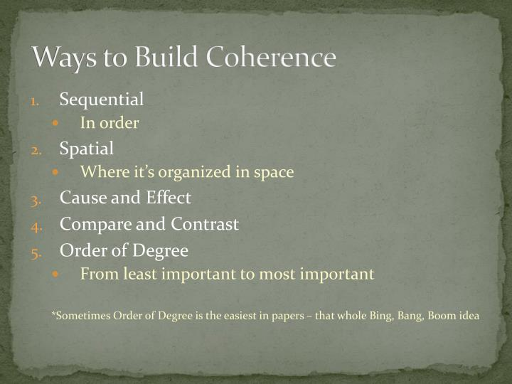 Ways to Build Coherence