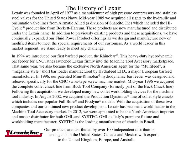 The History of Lexair
