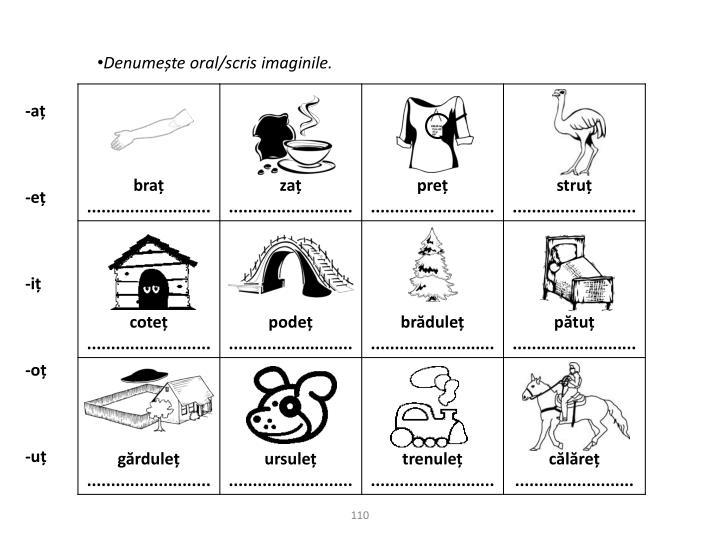 Denumește oral/scris imaginile.