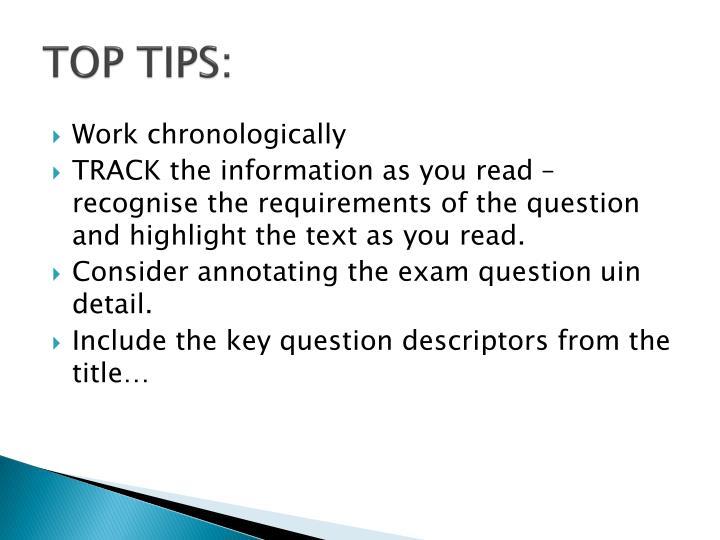 TOP TIPS:
