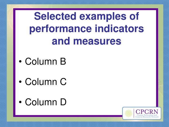 Selected examples of performance indicators and measures