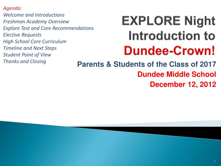 Explore night introduction to dundee crown