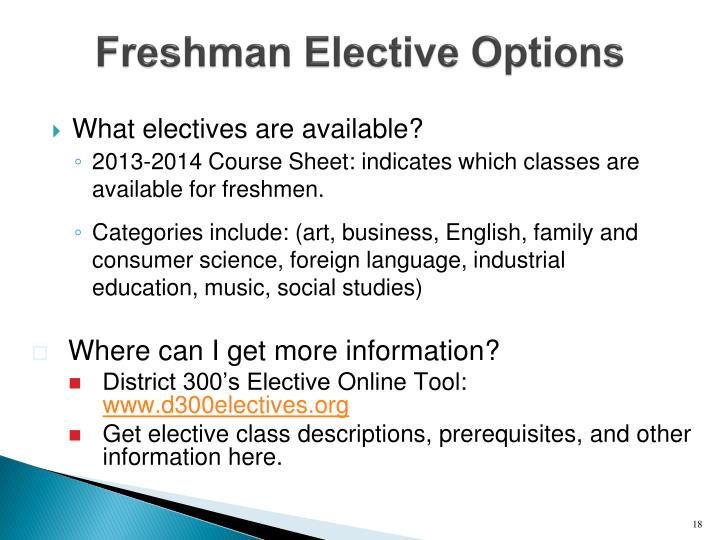 Freshman Elective Options