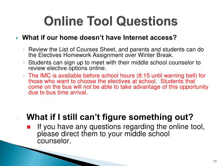 Online Tool Questions