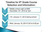 timeline for 8 th grade course selection and information