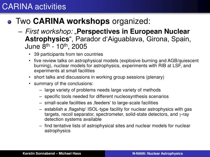 CARINA activities