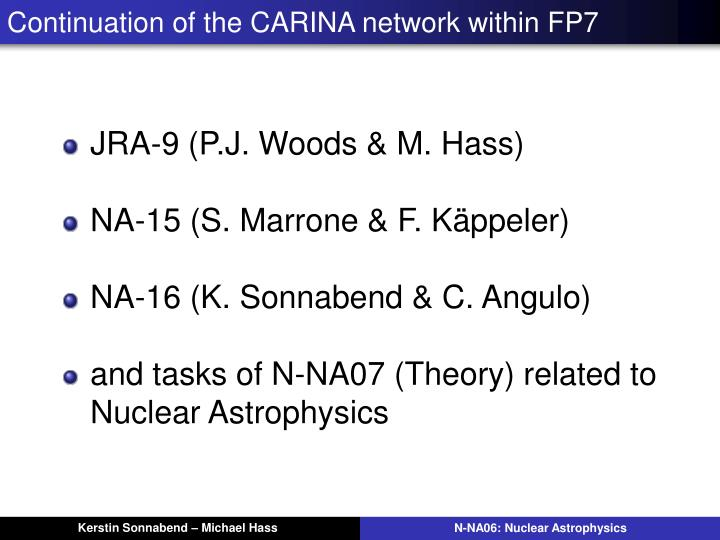 Continuation of the CARINA network within FP7