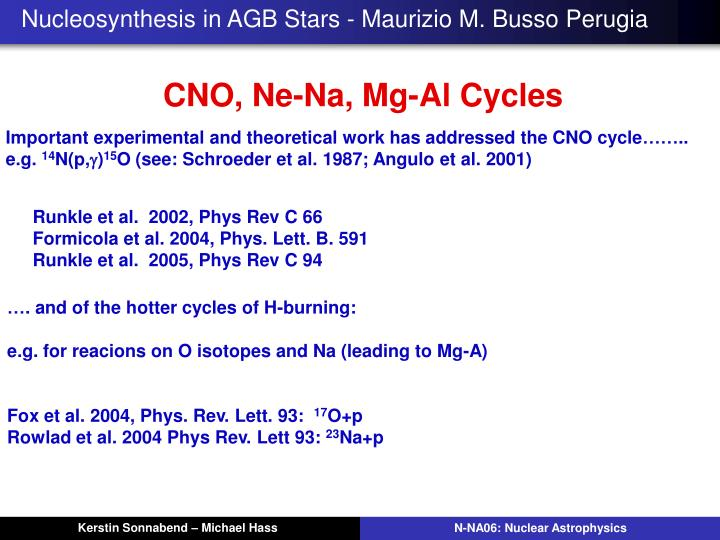 Nucleosynthesis in AGB Stars - Maurizio M. Busso Perugia