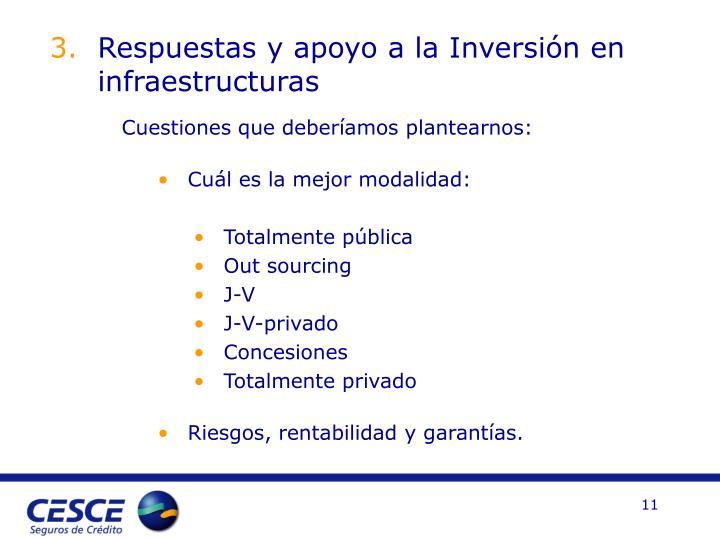 Respuestas y apoyo a la Inversión en infraestructuras