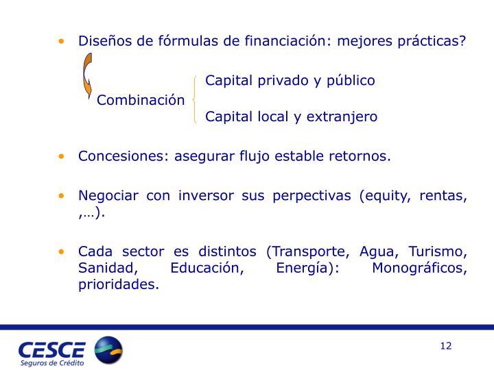 Diseños de fórmulas de financiación: mejores prácticas?