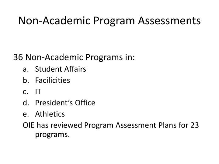 Non-Academic Program Assessments