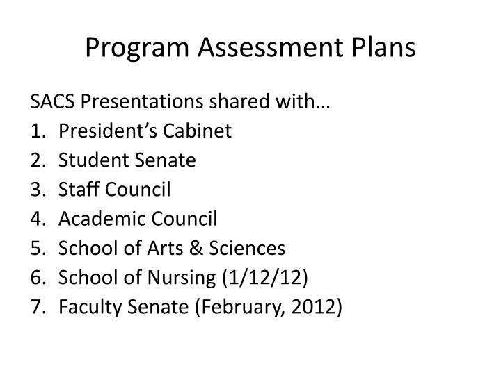 Program Assessment Plans