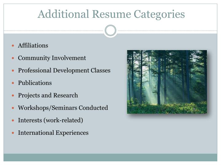 Additional Resume Categories