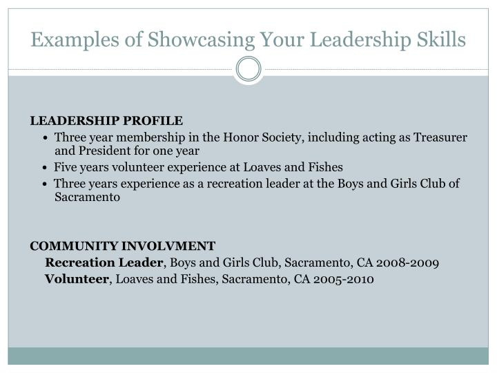 Examples of Showcasing Your Leadership Skills