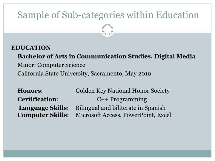 Sample of Sub-categories within Education