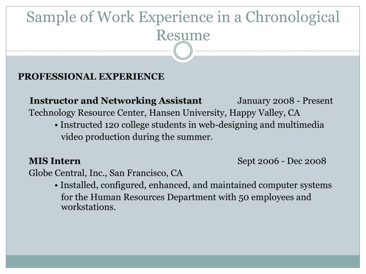 Sample of Work Experience in a Chronological Resume
