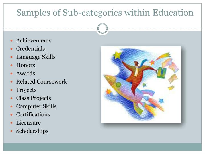 Samples of Sub-categories within Education