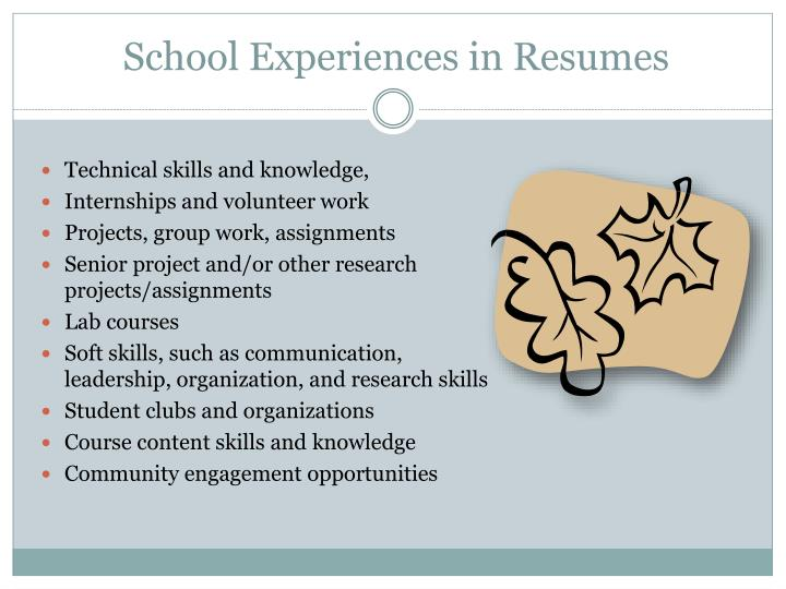 School Experiences in Resumes
