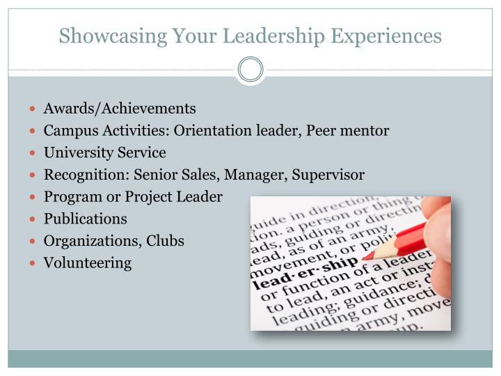 Showcasing Your Leadership Experiences