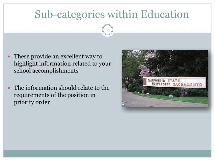 Sub-categories within Education