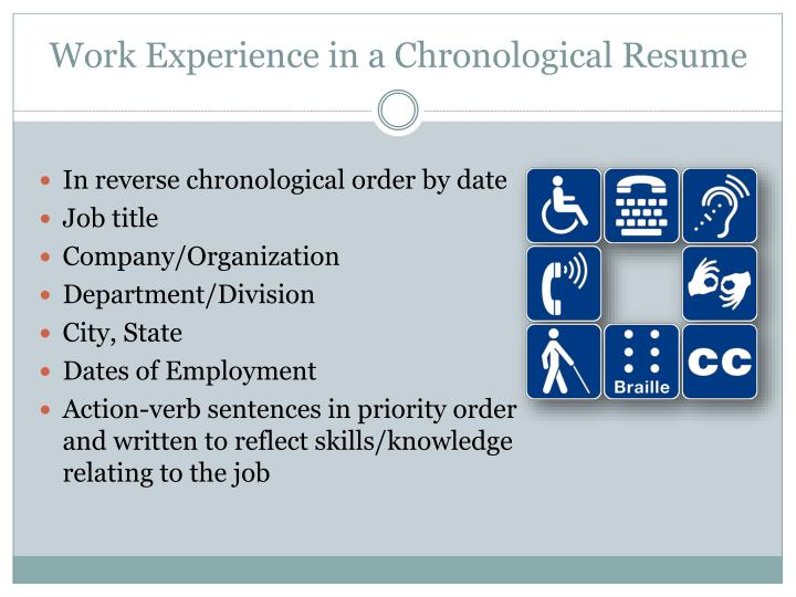 Work Experience in a Chronological Resume