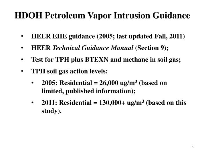 HDOH Petroleum Vapor Intrusion Guidance
