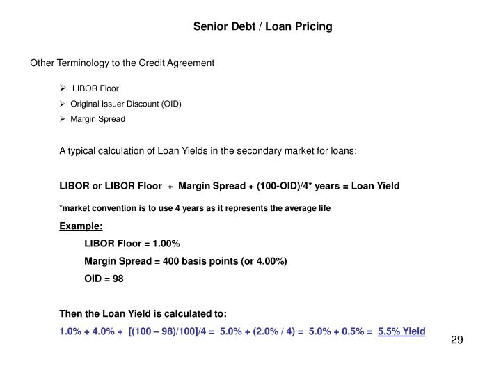 Senior Debt / Loan Pricing