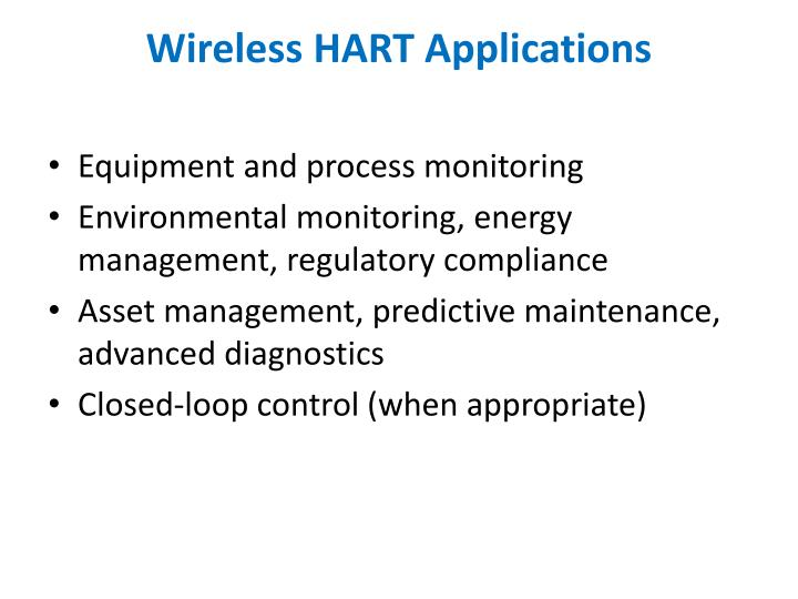 Wireless HART Applications