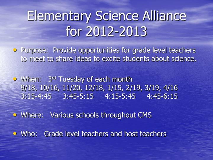 Elementary Science Alliance