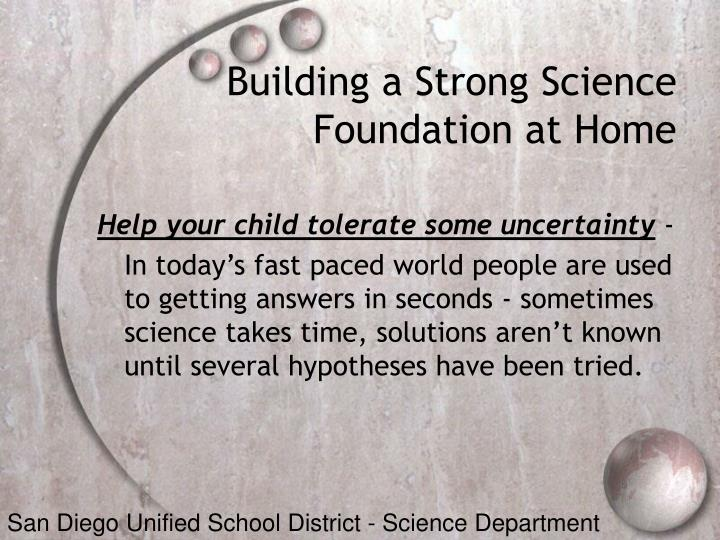 Building a Strong Science Foundation at Home