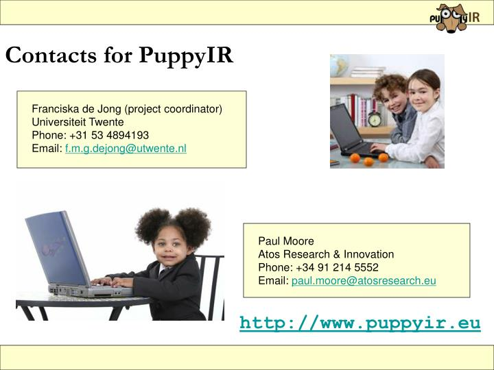 Contacts for PuppyIR