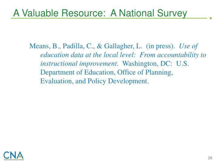 A Valuable Resource:  A National Survey