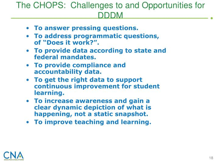The CHOPS:  Challenges to and Opportunities for DDDM