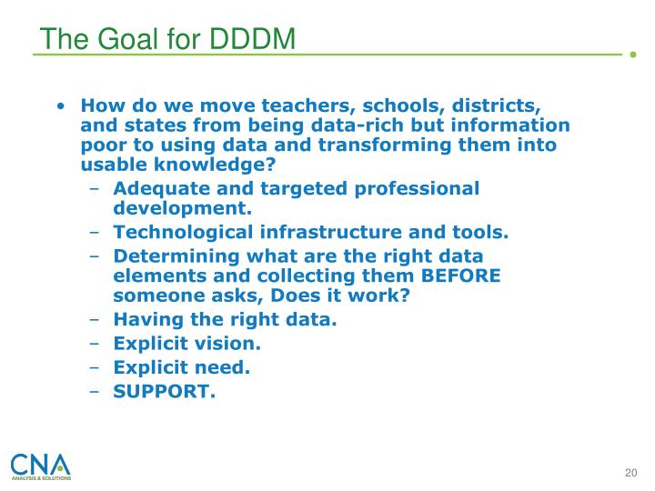 The Goal for DDDM